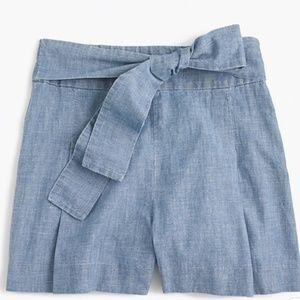 J. Crew High Rise Chambray Shorts